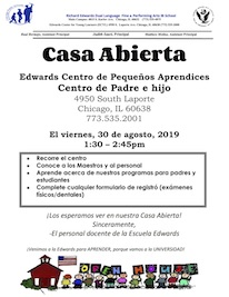 Open House spanish flyer